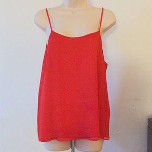 Orange Red Sheer Fabric Fully-lined Adjust. Straps
